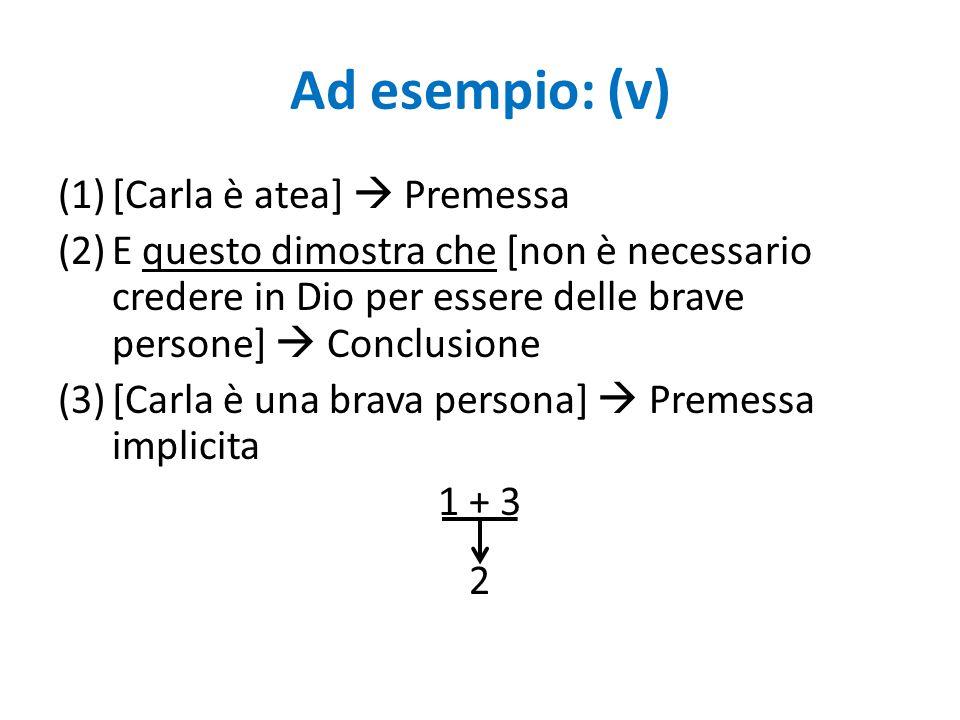 Ad esempio: (v) [Carla è atea]  Premessa